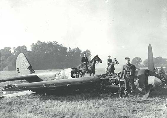 Wreckage of the crashed plane | Wreckage of the Ju 88.  The pilot, Oberlutnant Siegward Fiebig and his 3 crew members, Eric Goebel, H Ruthof and K Seifert all survived and were taken prisoner (ref HALS Acc 4947)