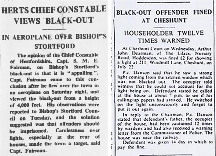Newspaper articles about blackout offences | HALS (ref Hertfordshire Mercury 25 Oct & 16 Aug 1940)