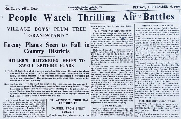 Newspaper report following two German crashes | HALS (ref Herts Mercury 6 Sep 1940)