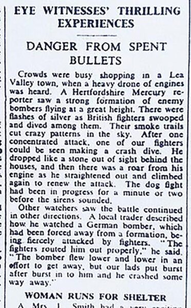 Newspaper report of an air battle over the Lea Valley | HALS (Hertfordshire Mercury 6 Sep 1940)
