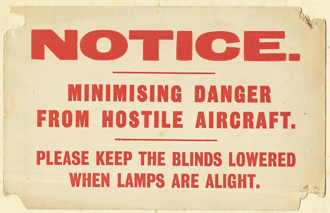 A notice asking people to observe the blackout | HALS (ref Acc 3831/12)