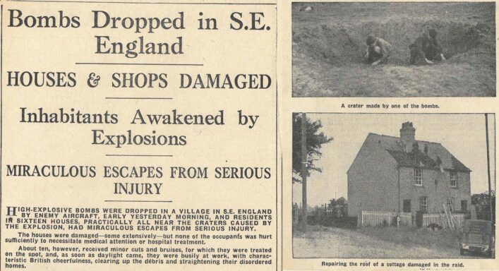Article showing bomb damaged houses at London Colney   Cutting from the Herts Advertiser, Sep 1940 (ref HALS SBR 4629)
