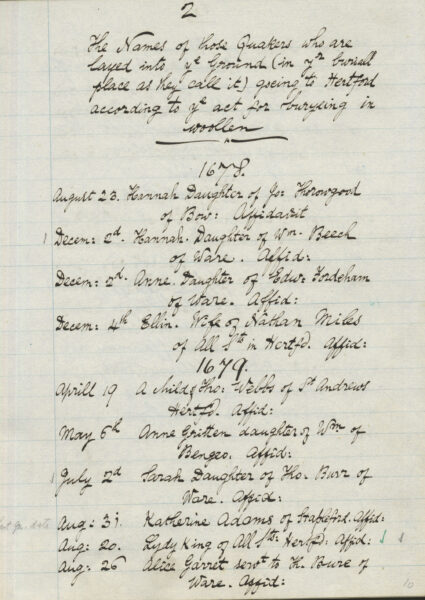 Page from a Quaker burial register | HALS (ref NQ2/5D/20)