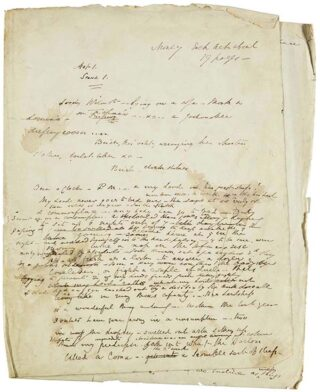 Bulwer Lytton's manuscripts for his play, Not So Bad as We Seem.  The original cast included Charles Dickens as the hero, Lord Wilmot, and Wilkie Collins, author of The Moonstone and The Woman in White as 'Smart', Lord Wilmot's valet. | Hertfordshire Archives and Local Studies (DE/K/W23)