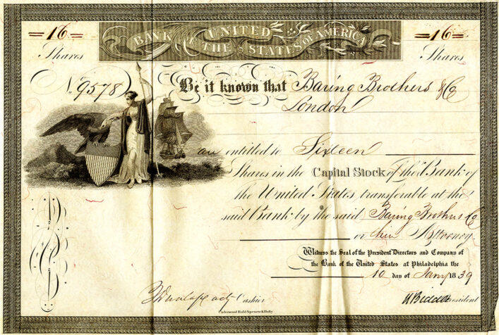 Share certificate for the Bank of the United States, 1839   HALS (ref DE/So/B2)