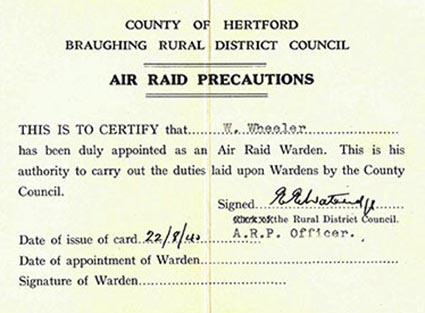 ARP appointment card of W Wheeler, Braughing Rural District Council, Aug 1940.  Below, fire watching instructions, St Albans. | HALS (ref DE/X508/08)