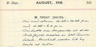 Extract from an Air Raid warden's diary | Diary of Geoffrey Jarvis, 1940 (ref HALS DE/X779)