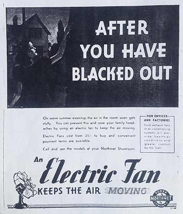 Newspapre advert for an electric fan | Northmet offered fans for sale (HALS ref Royston Crow, 1940)
