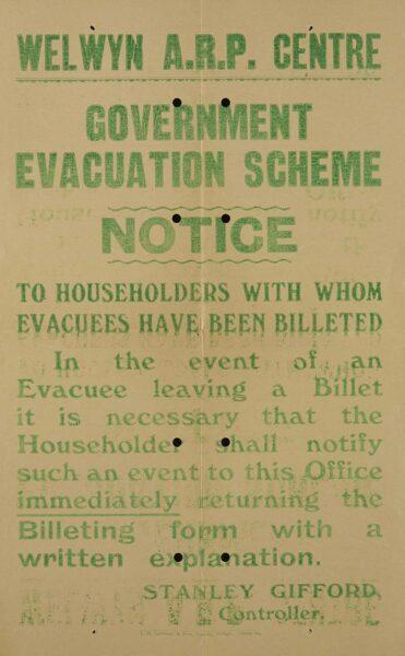 Welwyn evacuation scheme notice | HALS (ref DE/X792/48)