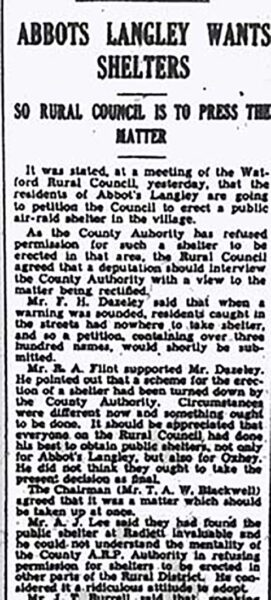 Article on lack of shelters at Abbots Langley | HALS (ref Herts Advertiser 6 Oct 1940)
