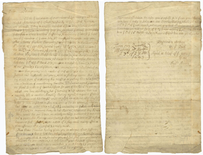 Letter asking for financial help for a man who lost verything in a fire, 1693   HALS (ref NQ2/8B/4)