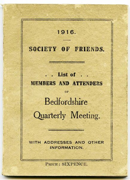 Cover of a list of members 1916   HALS (ref NQ1/5A/5)