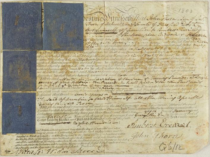 Front of an apprenticeship indenture from 1800   HALS (ref NQ2/5G/3)