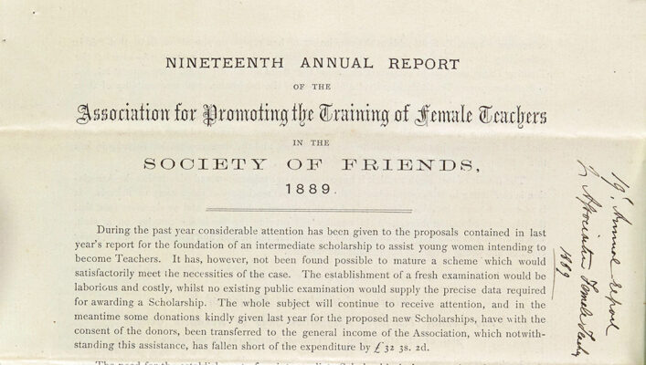 Report of the Association for Promoting Training of Female Teachers in the Society of Friends | HALS (ref NQ2/5I/4)