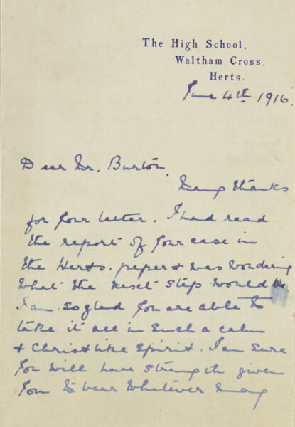 Letter of support for Basil Burton, a concientious objector | HALS (ref NQ2/11A/21)