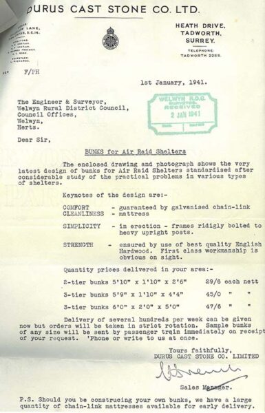 Letter with prices of bunk beds for shelters | HALS (ref (RDC14/87/1)