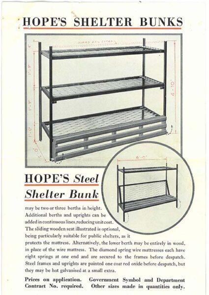 Brochure showing bunk beds for shelters | HALS (ref RDC14/87/1)