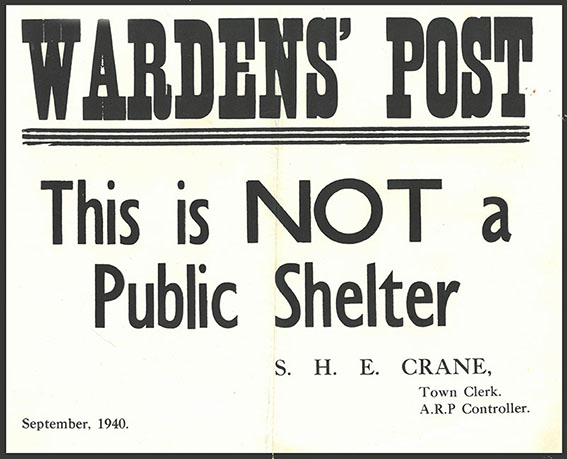Warden's notice warning that this is not a public shelter | HALS (ref SBR 3858A)
