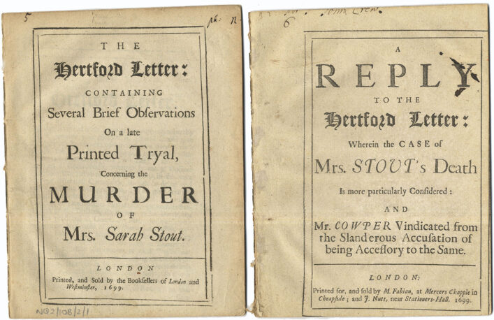 Pamphlet about the murder of Sarah Stout in 1699 | HALS (ref NQ2/10B/2)