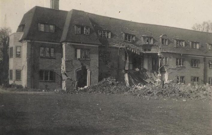 Photograph showing bomb damage to St Albans house, Hockerill College | HALS (DE/Hk/6/4/15)