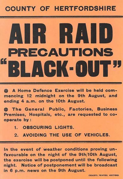 Poster telling people of a blackout home defence excercise in Hoddesdon | HALS (ref UDC1/30/5)
