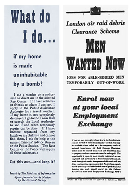 Adverts from newspapers | Notice from the Ministry of Information on what to do if you're made homeless and an advert asking for men to clear debris (HALS ref Herts Advertiser, 25 October 1940)