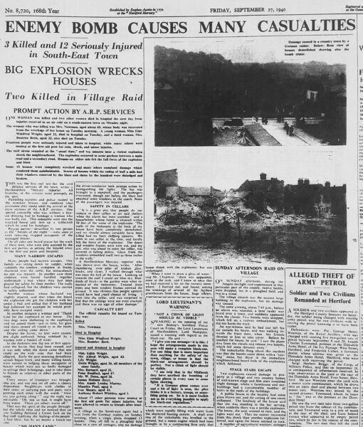 Newspaper article on the bombing of Hertford | HALS (ref Hertfordshire Mercury 27 Sep 1940)