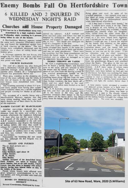 Newspaper article and photograph of bomb site today   HALS (ref Hertfordshire Mercury)