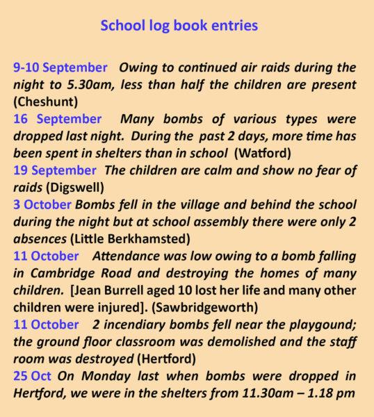 school log book entries