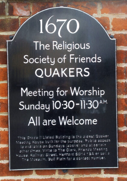 Sign outside Hertford Quaker Meeting House | N Connell (HALS ref DEX/1024/1/66/3/22)