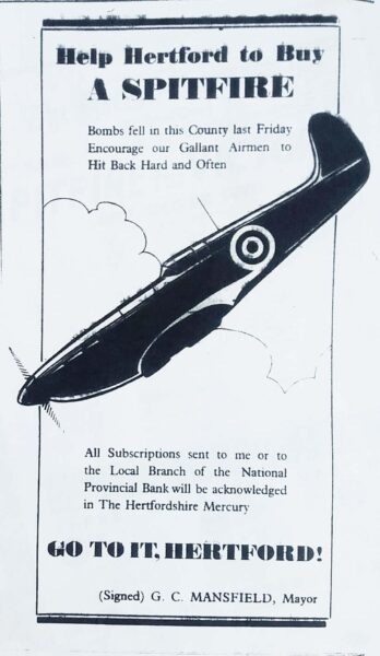 Newspaper article promoting Hertford Spitfire Fund | HALS (ref Hertfordshire Mercury 23 Aug 1940)