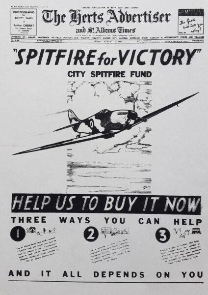 Newspaper article promoting St Albans Spitfire fund | HALS (ref Herts Advertiser 2 Aug 1940)