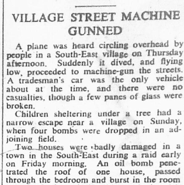 village street machine gunned | HALS (ref Hertfordshire Mercury 11 Oct 1940)