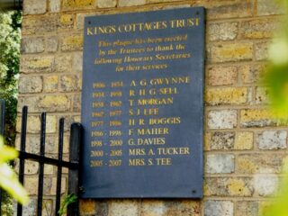 The plaque listing the secretaries. Later moved from the end of No 9 to the front of No 13. Feb 2017. | Colin Wilson