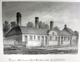 J C Buckler's drawing of John Sayer's almshouse. 1830 | Hertfordshire Archives and Local Studies ref DE/Bg/1/98
