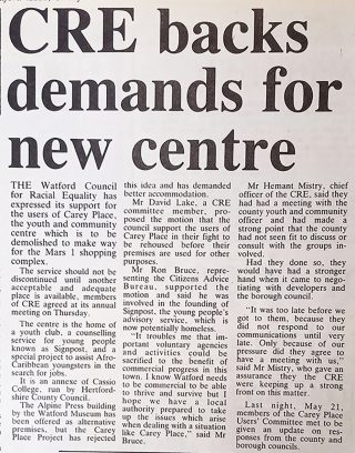 Support for Carey Place Youth and Community Centre, 1987 | Watford Observer, 22 May 1987