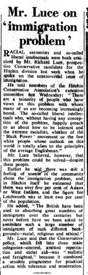Newspaper article on immigrants | Herts and Beds Citizen, 21 January 1969