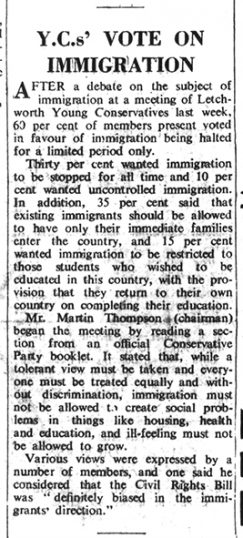 Article on immigration | Herts and Beds Citizen, 13 Dec 1968