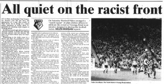 Article on racism in football | Watford Observer, 12 November 1993