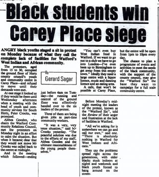 Newspaper article on Watford students | Watford Observer, 17 October 1985