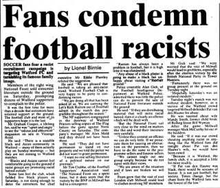 Newspaper article on football racists | Watford Observer, 24 September 1993
