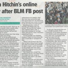 Newspaper article on BLM | Stevenage Comet, 11 June 2020