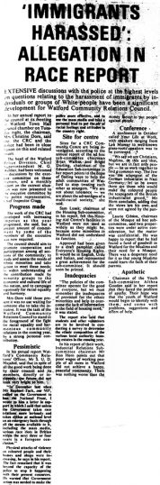 Newspaper article on harrassment of immigrants | Watford Observer, 26 May 1978