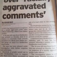 Newspaper article on BLM | Hertfordshire Mercury, 7 July 2020