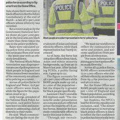 Newspaer article about diversity in police forces | Hemel Hempstead Gazette, 19 August 2020