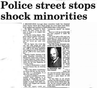 Newspaper article on stop and search | Hertfordshire Mercury, 21 January 1999
