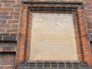 The dedication stone on the end wall of Mary Bailey Smith's almshouse. Feb 2017 | Colin Wilson