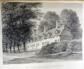 J C Buckler's drawing of Much Hadham almshouses. 1835 | Hertfordshire Archives and Local Studies ref DE/Bg/2/53