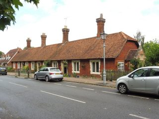 Much Hadham almshouse from south. The rebuilding stone is on the end porch. Aug 2020 | Colin Wilson