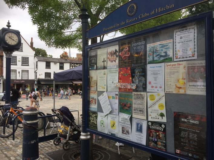 Frozen in time: Community noticeboard, Hitchin Market Place, 18th July